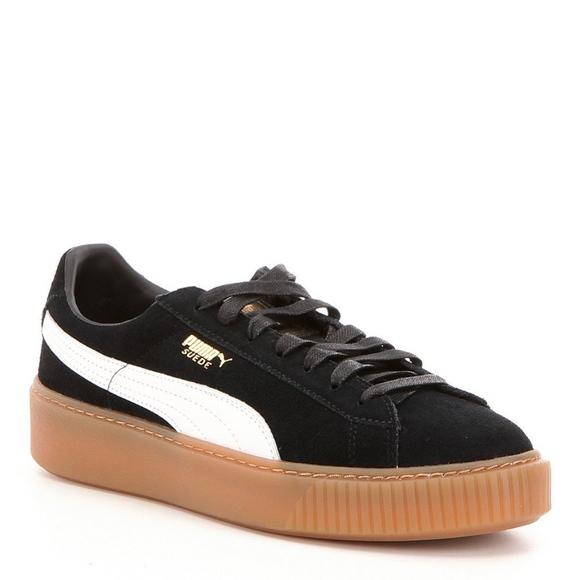 PUMA SUEDE PLATFORM CORE BLACK WHITE GUM BOTTOM 8ec8918076
